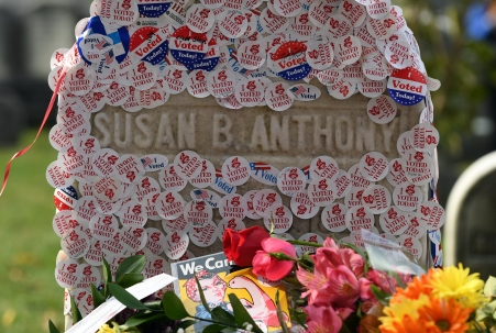 "The grave of women?s suffrage leader Susan B. Anthony is covered with ""I Voted"" stickers left by voters in the U.S. presidential election"